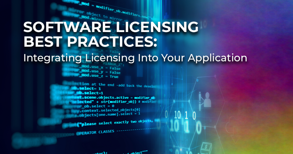 Integrating Licensing Into Your App header image showing computer code on a screen